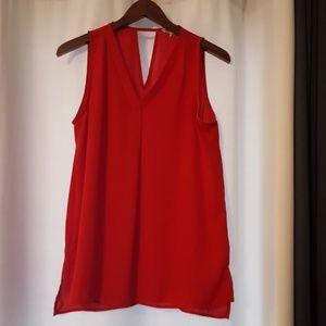 Tops - Red sleeveless sheer blouse